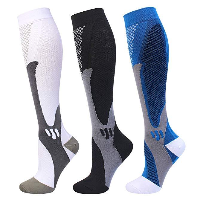 7 Styles Men Women Compression Socks For Football Anti Fatigue 20-30 Mmhg Pain Relief Black Compression Socks Fit Sport Socks
