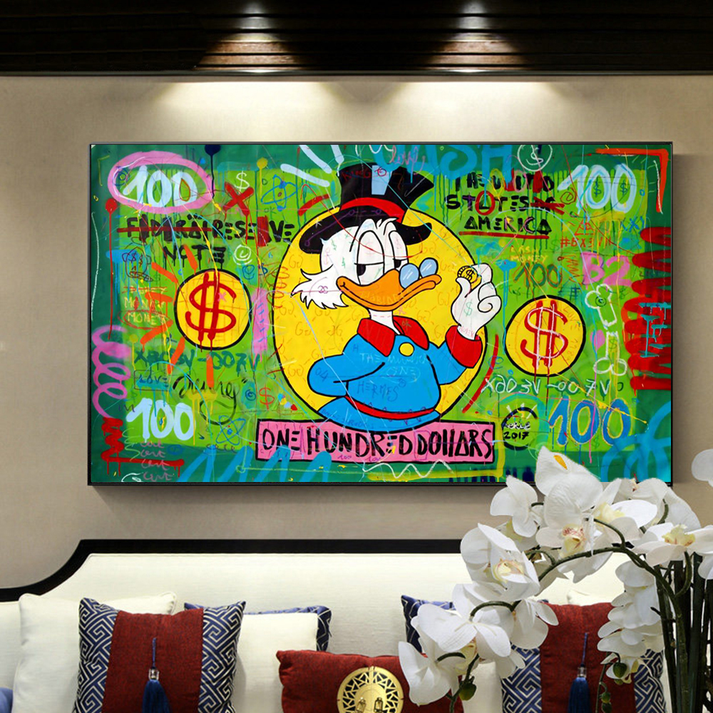 Disney Graffiti Art Anime Posters and Prints Painting Canvas Wall Art Donald Duck One Hundred Dollar Picture for Kids Room Decor