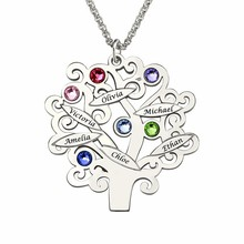 XiaoJing 100% 925 Sterling Silver Custom Family Team Tree of Life Name Necklaces Unique Jewelry Party Gift for Mother 2019 New
