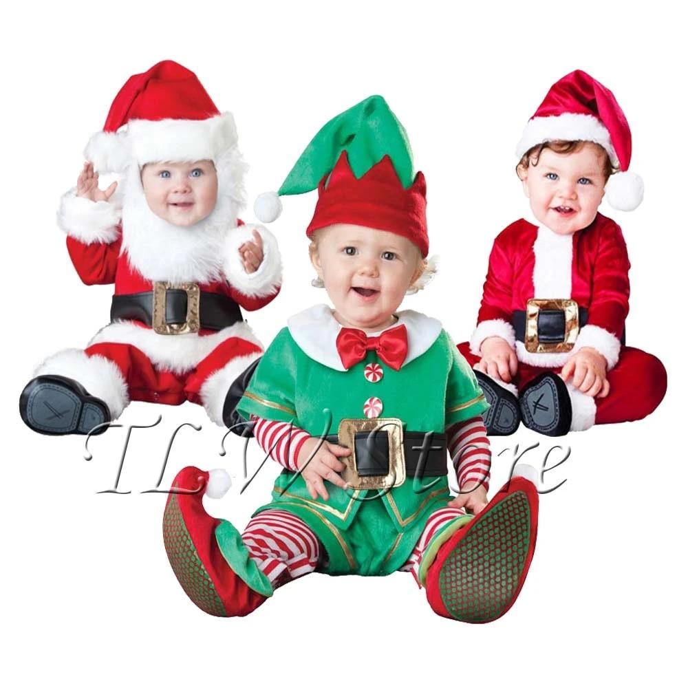 Elf Costume Boys Girls Christmas Suit Cosplay Santa Xmas Party Kids Adults