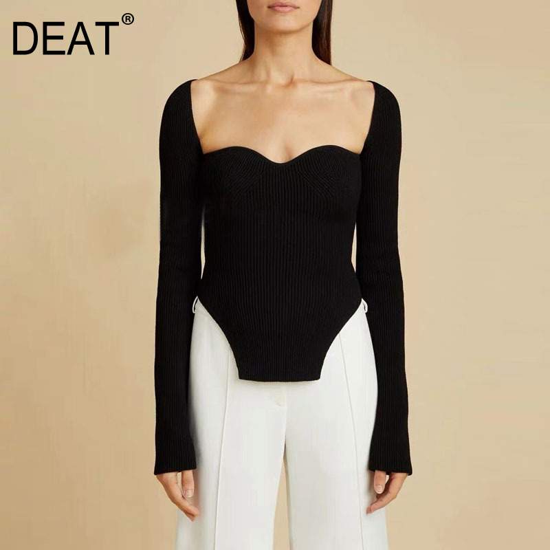 DEAT 2020 new spring sexy stylish sqaure collar full sleeves knitting pullover sexy slim T-shirt female top WK08001L 1