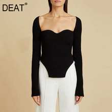 DEAT 2020 new spring sexy stylish sqaure collar full sleeves knitting pullover sexy slim T-shirt female top WK08001L