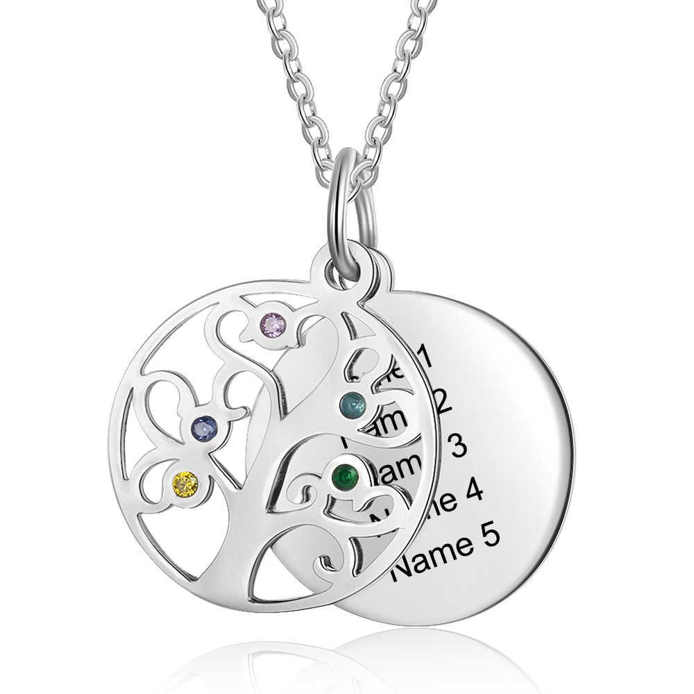 Tree of Life Disc สร้อยคอครอบครัวส่วนบุคคล 5 Birthstones 5 ชื่อแกะสลักแม่สร้อยคอและจี้ของขวัญสำหรับแม่