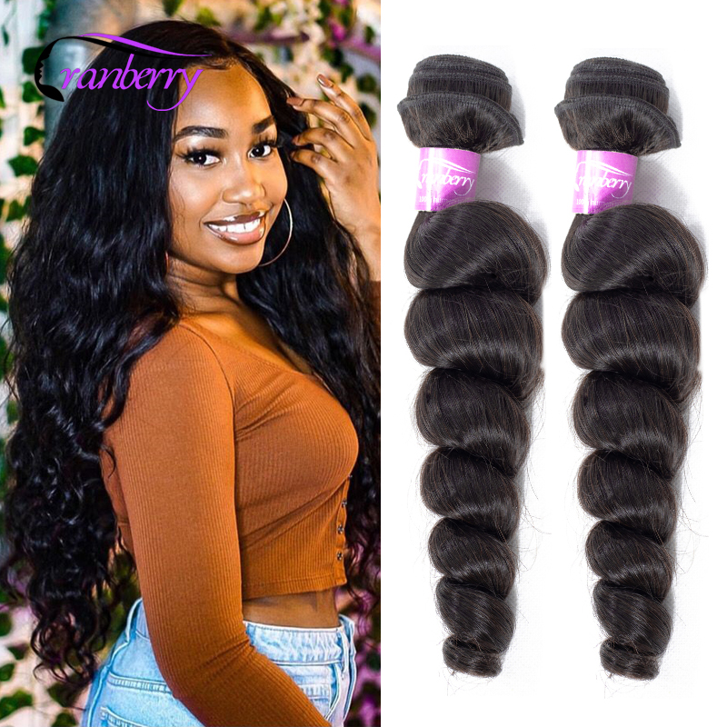 "Cranberry Hair Loose Wave Bundles Can Buy 3/4 Bundles 8""-26"" Brazilian Hair Weave Bundles Remy Human Hair Bundles Natural Color(China)"