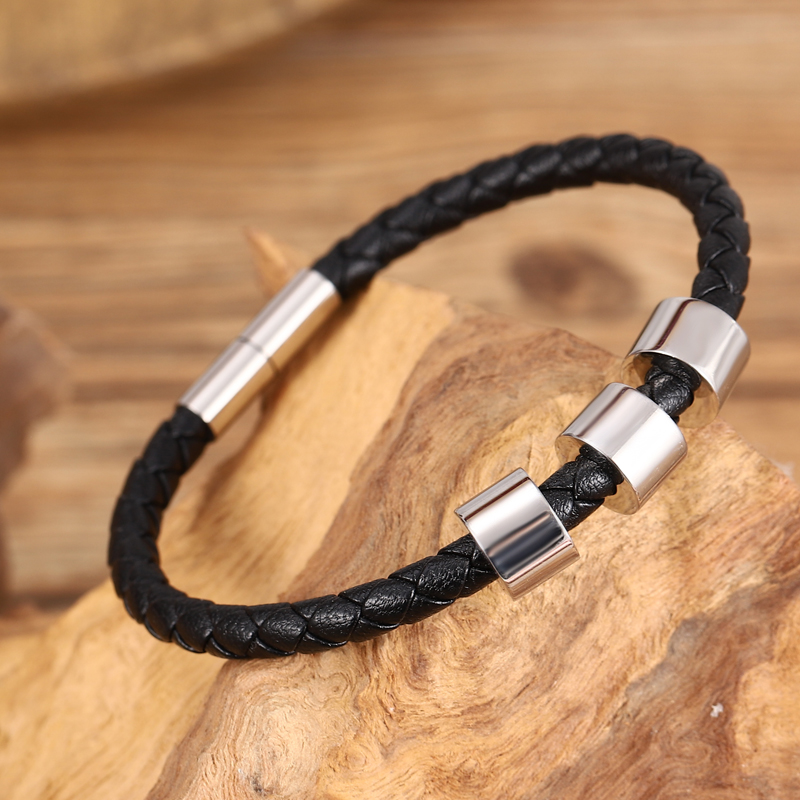Popular Stainless Steel Jewelry Accessories Men's Name Beaded Bracelet 5mm Genuine Leather Woven Bracelet Punk Fashion Dad Gift