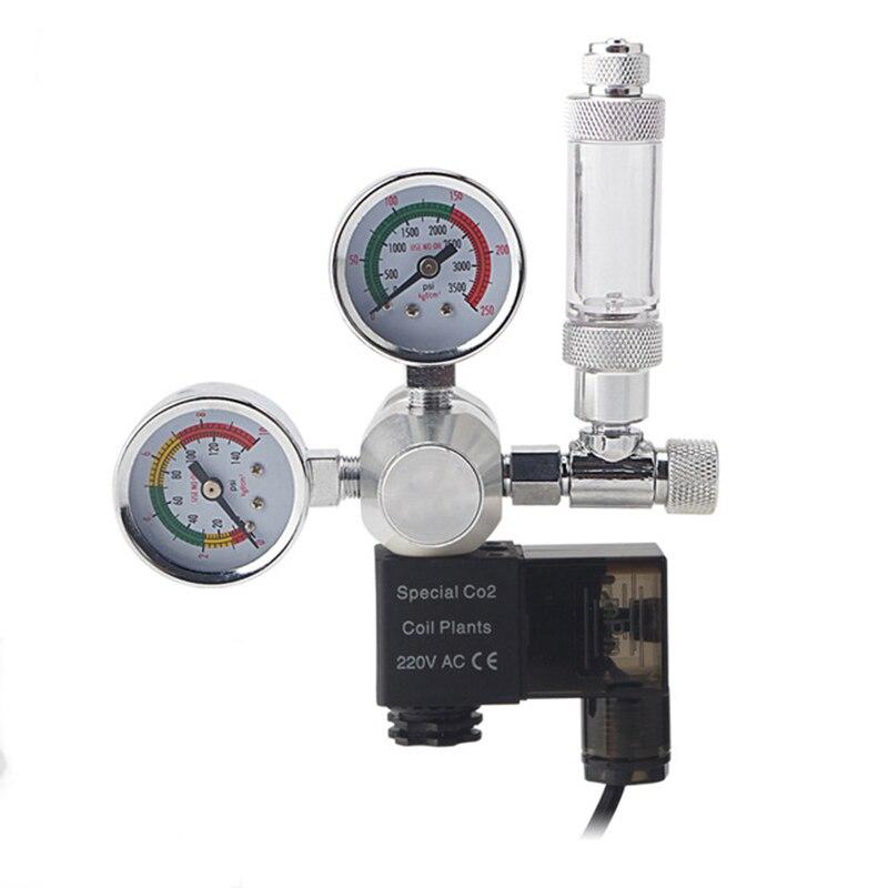 Aquarium CO2 Regulator Magnetic Solenoid Check Valve Fish Tank CO2 Pressure Reducing Valve DIY CO2 Control System Kit 220V 110V