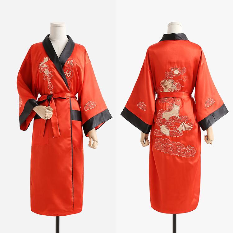 Бордовый черный Для мужчин новинка Дракон Повседневное высокое качество одежда с вышивкой свободное кимоно халат мягкие пижамы пеньюар - Цвет: Red Black