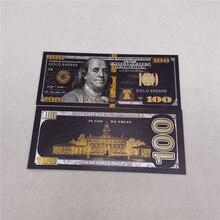 Новый стиль золото поддельные monney черный 100 доллар золотистый и черный USD 100 банкнот Цветной с покрытыем цвета чистого 24 каратного золота БАН...