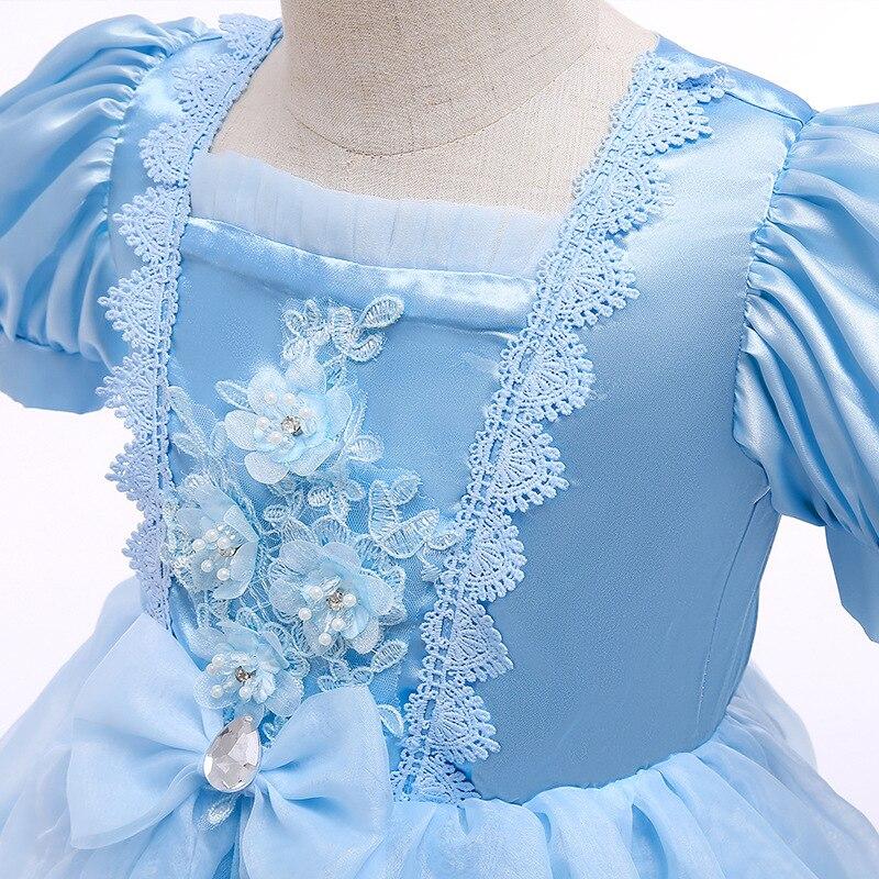 VOGUEON Luxury Cinderella Dress Girls Beading Applique Flower Princess Dresses Girl Lace Mesh Birthday Party Fancy Kids Costume 4