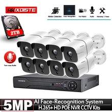 كشف الوجه التقاط POE 5MP طقم مراقبة الفيديو 8CH NVR نظام الدائرة التلفزيونية المغلقة 5 ميجابكسل مانعة لتسرب الماء CCTV الأمن POE كاميرا IP