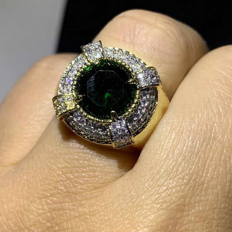Vintage مجوهرات الأزياء 925 الفضة والذهب ملء الأخضر الجولة AAA مكعب الزركون خاتم الخطوبة النساء الزفاف الزفاف الفرقة خاتم هدية