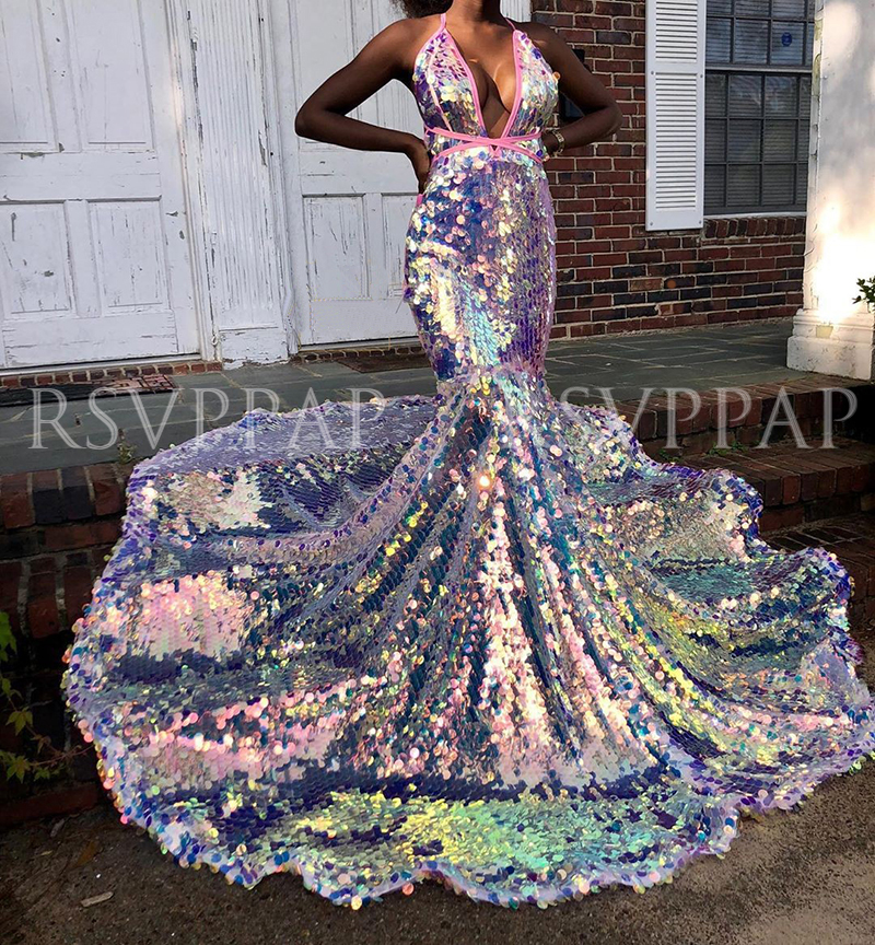 Long Prom Dress 2020 New Arrival Sparkly Glitter Sequin Sexy V-neck African Black Girl Mermaid Prom Dresses