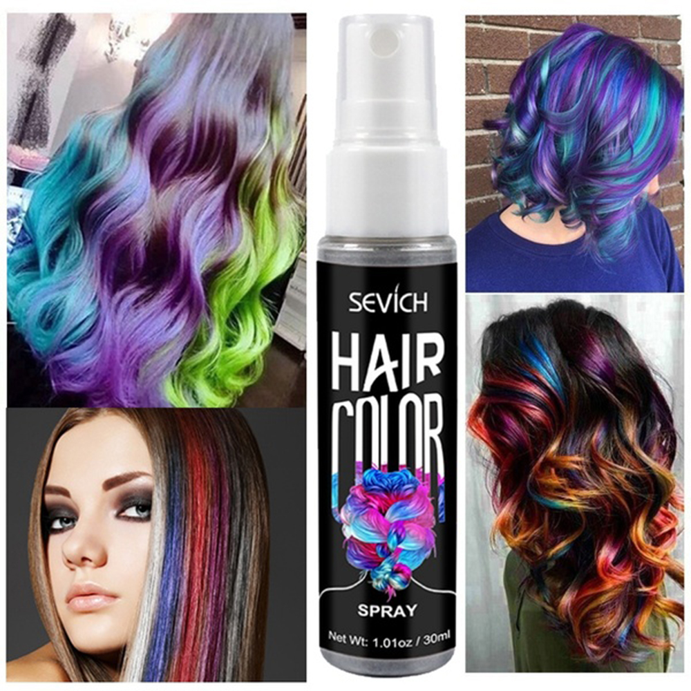 1Pcs 30ML Instant Temporary Hair Coloring Spray Instant One-off Hair Dye Non-toxic Washable One-time Liquid Hair Care Dropship