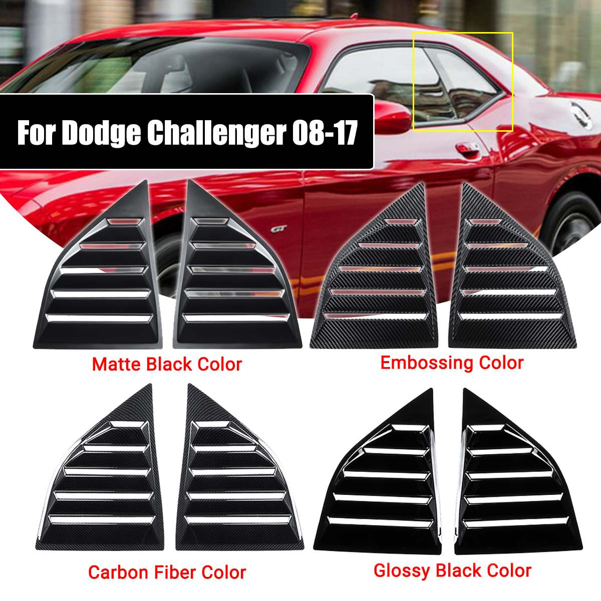 Fits 08-17 Dodge Challenger XE PP Window Scoops Louver Vent