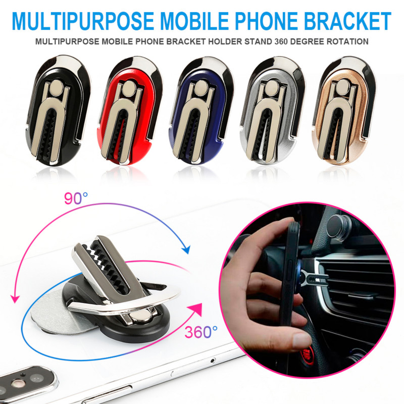 Phone Holder Mobile Stand 360° Rotating Multi-Function Phone Ring Stand Holder Snap Clips To 2 In 1 Support Smartphone In Car