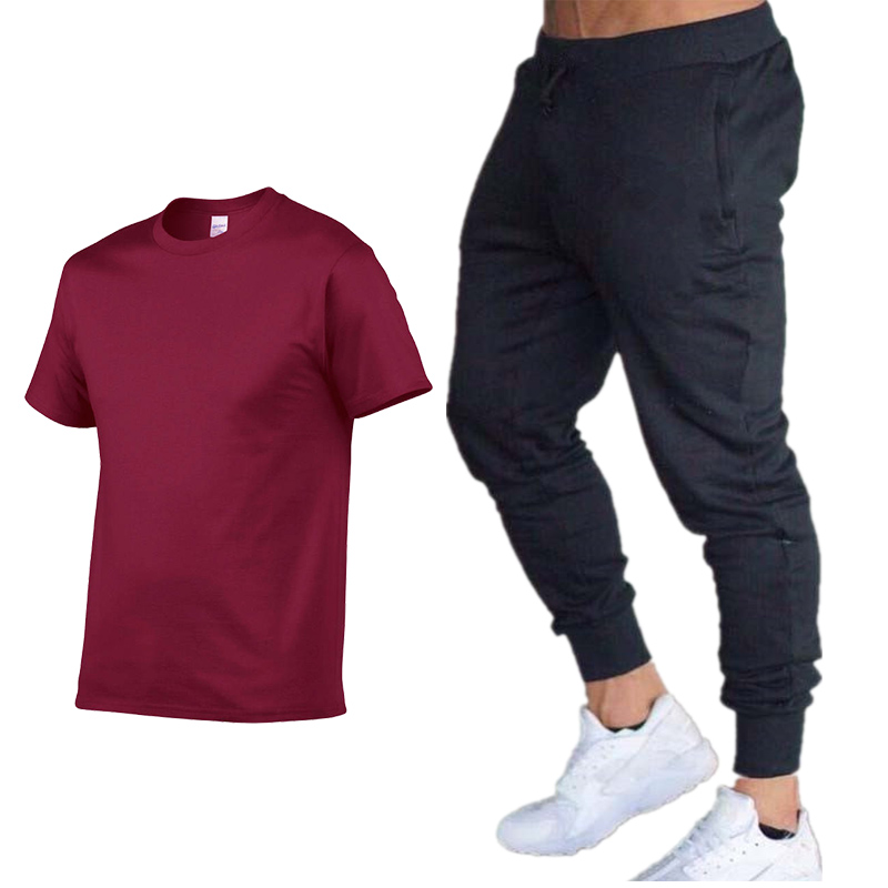 Summer Hot Sale Men's Sets T Shirts+pants Two Pieces Sets Casual Tracksuit Male 2019 Casual Tshirt Fitness Exercise Trousers Me