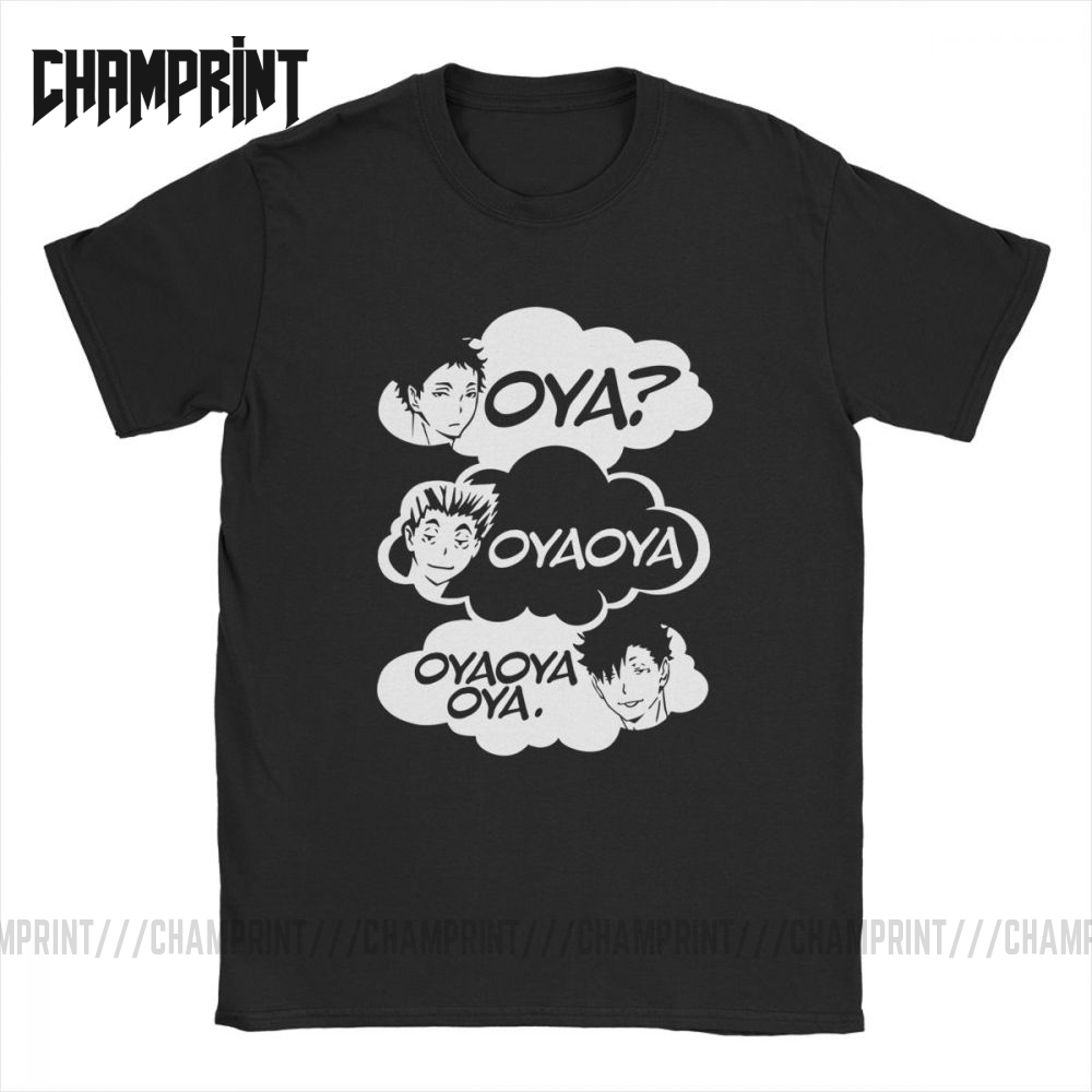 Oya Oya Oya Haikyuu Men T Shirt Kuroo Anime Bokuto Manga Shoyo Volleyball Creative Tee Shirt Short Sleeve T-Shirt 100% Cotton