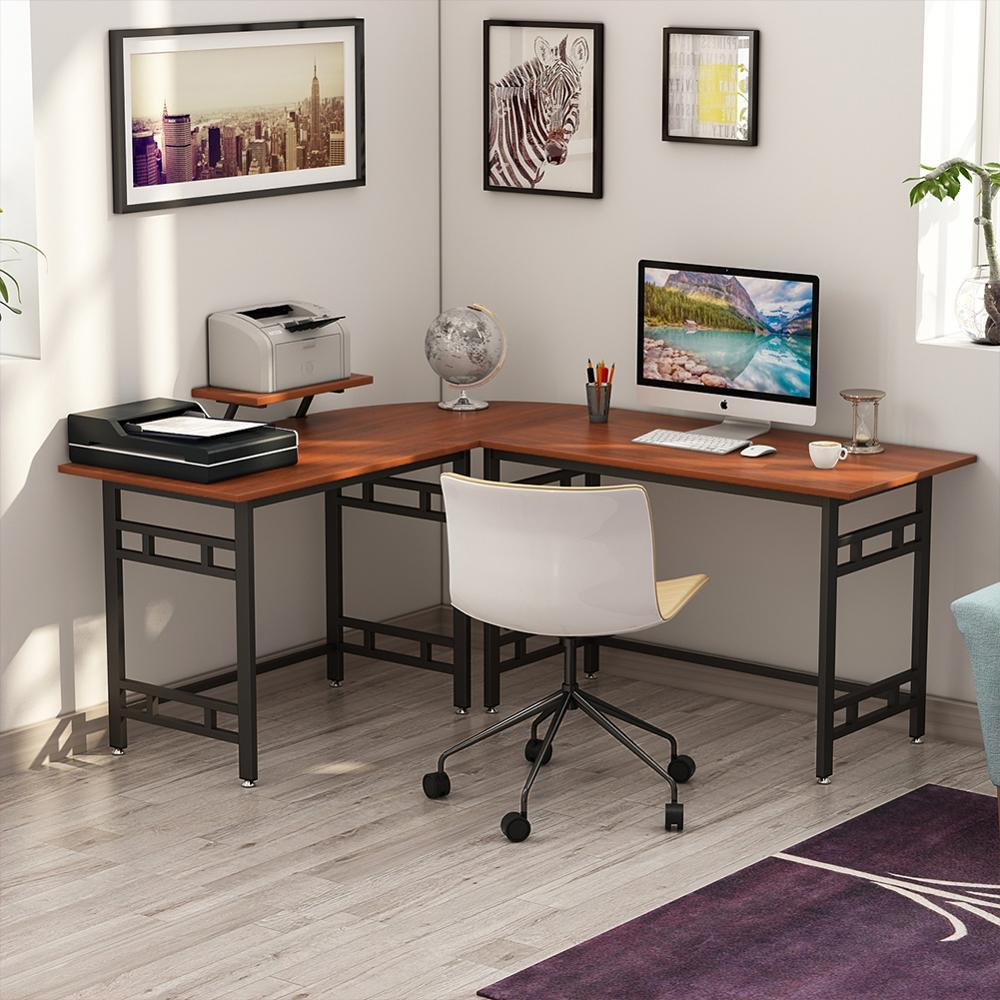 Computer Desk 67 Wood Metal L Shaped