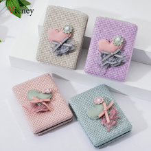 Vicney Fabric Feel Portable Mini Fashion Makeup Mirrors Compact Pocket Mirror Two-Side Folding Make Up Cosmetic Tool