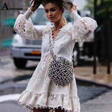 Aimsnug Female The Dress Deep V-neck long-sleeved Boho Hollow Lace Solid White High Waist 2019 Autumn New Womens Mini