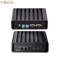 Mini PC Fanless Industrial PC Intel Core i3 4005U i5 4200U i7 5500U Desktop Computer 2xRS232 COM 2xLAN HTPC Nuc HDMI VGA USB