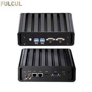 Mini PC Industriel Sans Ventilateur PC Intel Core i3 4005U i5 4200U i7 5500U Ordinateur De Bureau 2xRS232 COM 2XLAN HTPC Nuc HDMI VGA USB