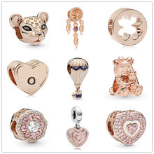 new 1pc rose gold DORA BEAR Dreamcatcher Sparkling Lion Princess clover diy bead Fit Pandora Charms Bracelet for women EL192(China)
