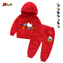 Children Clothing Set Baby's Sets 100% Cotton Hello Kitty Kids Hoodies Boy Outfit Sports Suit 6T Boys Girls Cotton Child Clothes стоимость