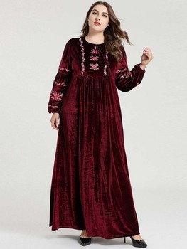 Embroidery Cotton Caftan Muslim Hijab Women Dress For Girls
