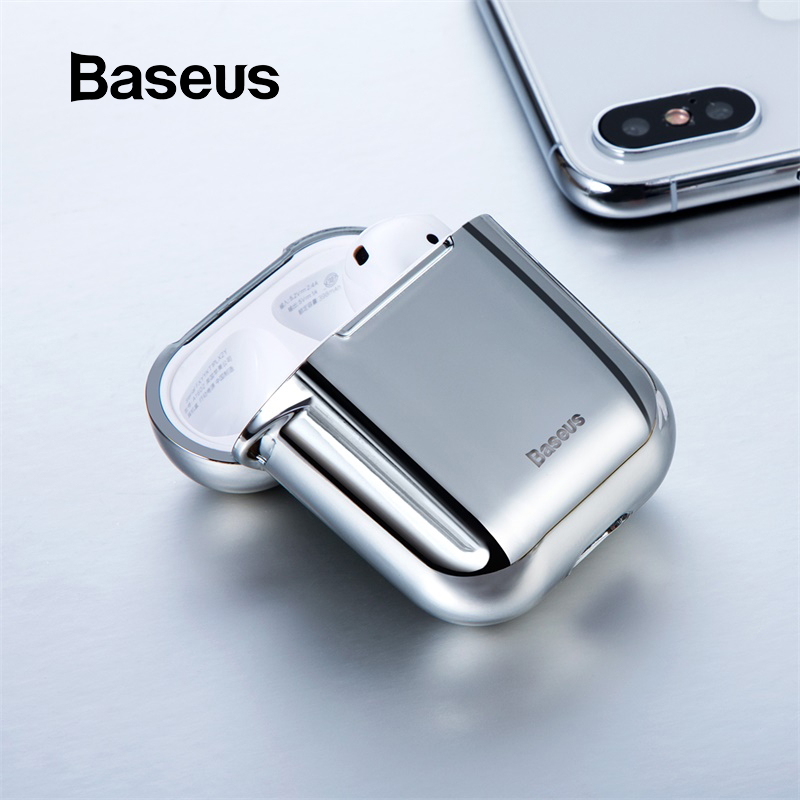 Baseus Wireless Earphone Case For Airpods 1 2 Anti-lost Shining Case For AirPods Case Protect Cover Skin Headphone Accessories