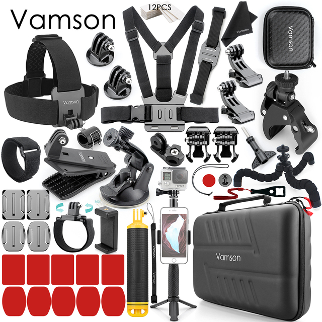 Vamson Accessories for GoPro Hero 9 8 7 6 Chest Strap Motorcycle Clamp Collection Box for Xiaomi Yi 4K for SJCAM for Eken VS153C 1