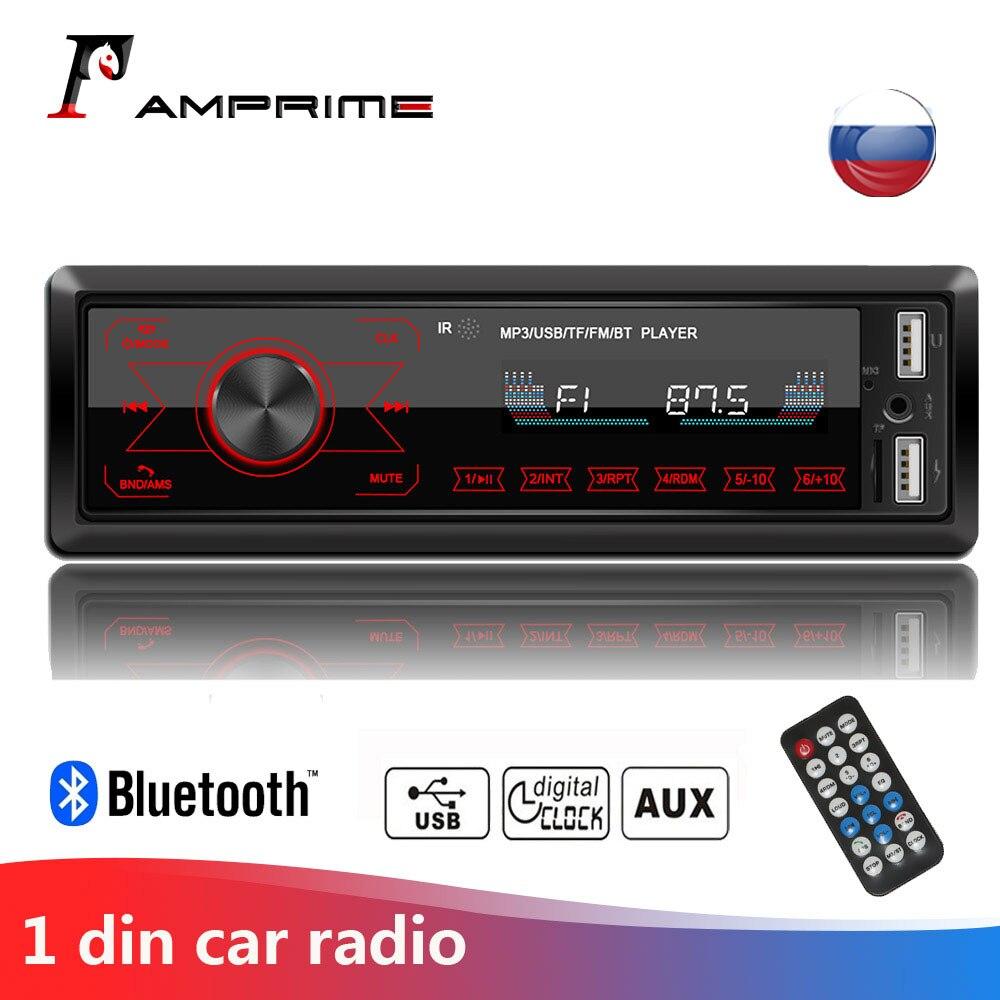 AMPrime Auto Radio 12V Autoradio AUX-IN Bluetooth FM 7 Farben Auto Stereo USB Lenkrad Fernbedienung MP3 Multimedia player