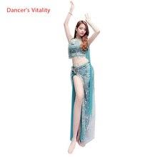 جرس الرقص دعوى أعلى تنورة 2 قطعة الملابس الملونة مطرز الكتف الجنية الملابس زي 4 نمط الرقص الشرقي مجموعة