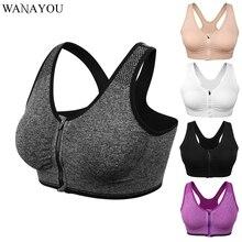 WANAYOU Zipper Yoga Bra Top,S-XL Women Padded Yoga Sports Top,Breathable Workout Running Fitness Gym Yoga Shirts Sports T-Shirt