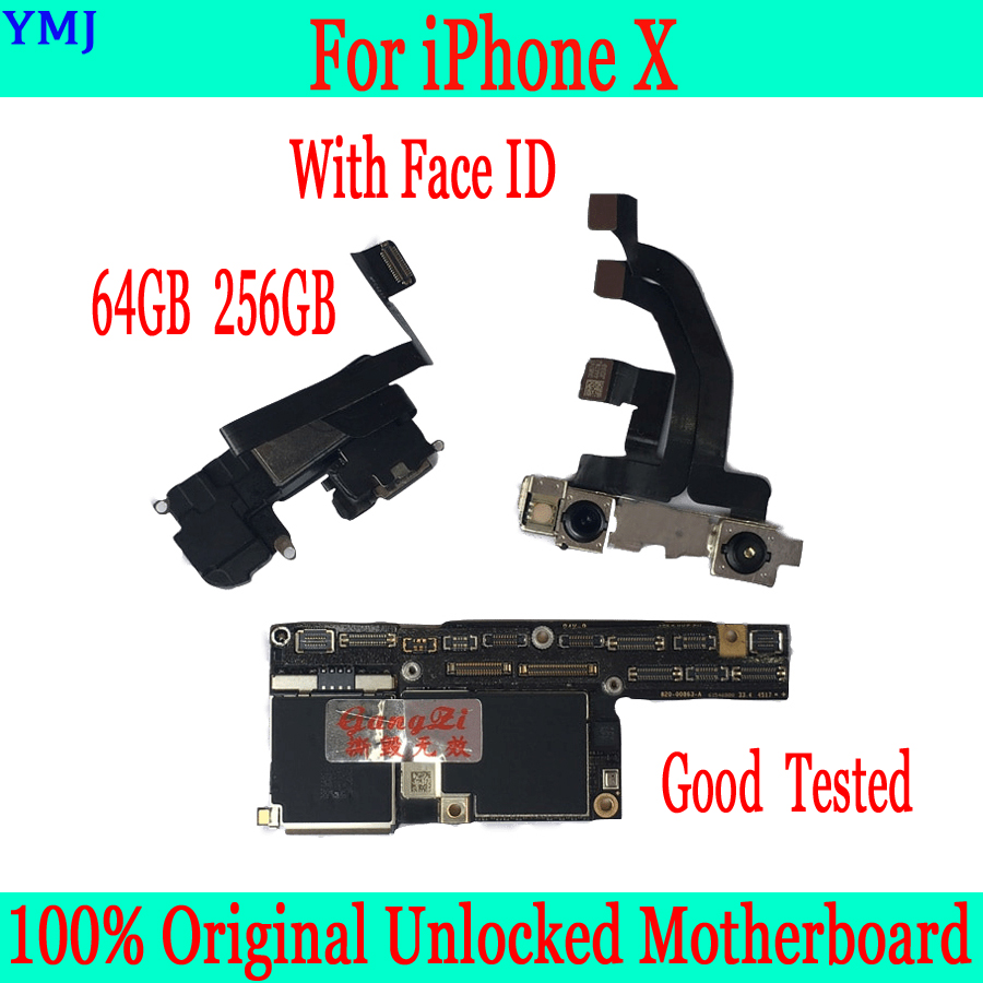 Good Tested Original For <font><b>iPhone</b></font> <font><b>X</b></font> 10 <font><b>Motherboard</b></font> <font><b>With</b></font>/ Without <font><b>Face</b></font> <font><b>ID</b></font>,Free iCloud For <font><b>iPhone</b></font> <font><b>X</b></font> Logic Board 100% <font><b>Unlocked</b></font> panel image