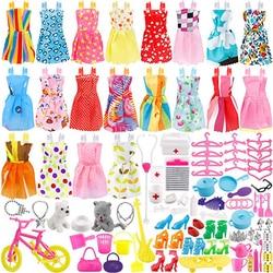 135 pçs roupas de boneca vestido de festa roupas sapatos sacos colar brinquedo acessório, 20 pacote roupas & 115 pçs bonecas acessórios
