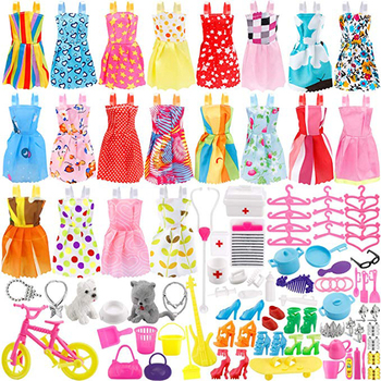 135 Pcs Doll Clothes Party Gown Outfits Shoes Bags Necklace Toy Accessory, 20 Pack & 115 Dolls Accessories