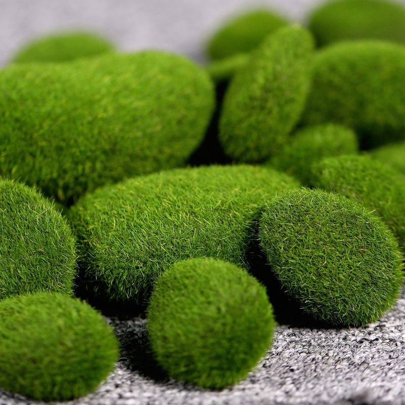 Easy 20 Pieces 2 Sizes Artificial Moss Rocks Decorative Faux Green
