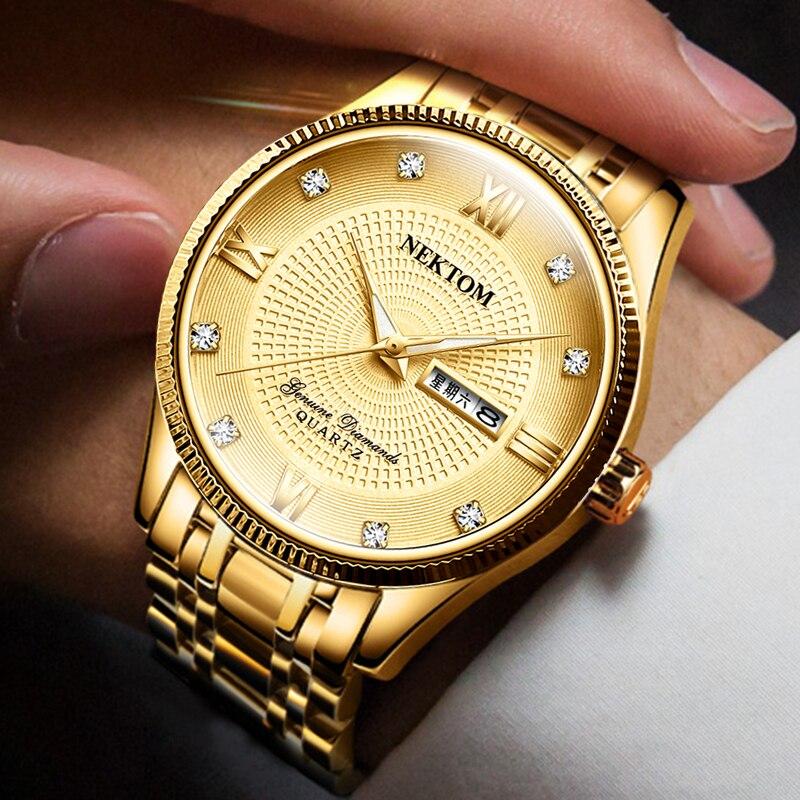 NEKTOM Masculino Men's Watches Business Luxury Brand Watch Mens Quartz Stainless Steel Clock Fashion Chronograph Watches Man