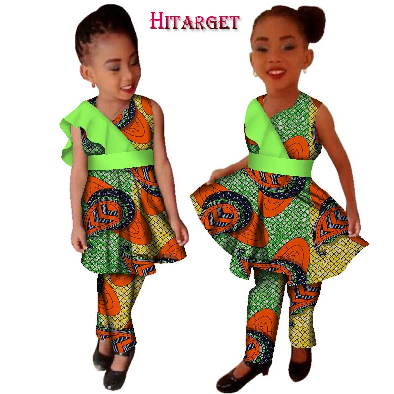 New Girls Plus Size African Clothing Dresses Vestidos Dashiki African Bazin Riche Wax Print Splice Dresses And Pants Sets WYT124