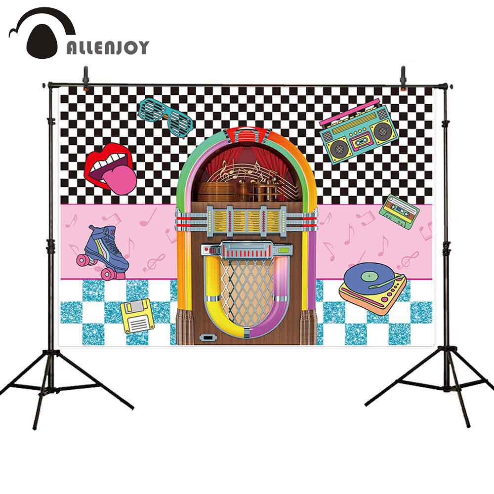 Allenjoy jukebox background radio Vintage music Rock N Roll retro back to 80s 90s party backdrop photo photophone photocall image
