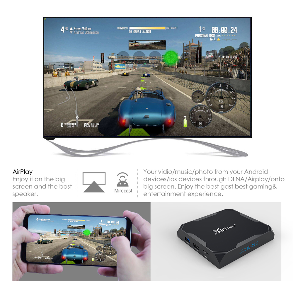 VONTAR X96 Max Plus 2 Smart TV BOX Android 9 4GB 64G 32G quad core - Audio dan video rumah - Foto 4