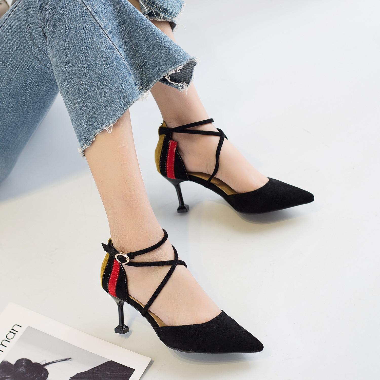 Ev ve Bahçe'ten Ayakkabı Rafları ve Organizatörleri'de 1131 yaz yeni stil toka çapraz sivri burun yüksek topuk ayakkabı ince İpli kapalı ayak kedi sandalet ile kadın 2019 süet St title=