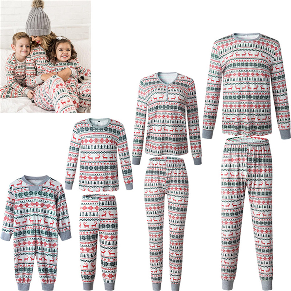 Family Matching Outfits Clothing Christmas Pajamas Sets Xmas Adult Mother Daughter Kids Print Nightwear Pyjamas Sleepwear Suit