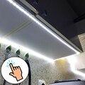 Schrank LED Light Touch Schalter Sensor Licht Streifen Dimmbare 220V Zu DC 12V LED Band Küche Wand Bett lampe Wasserdicht Mit EU Stecker