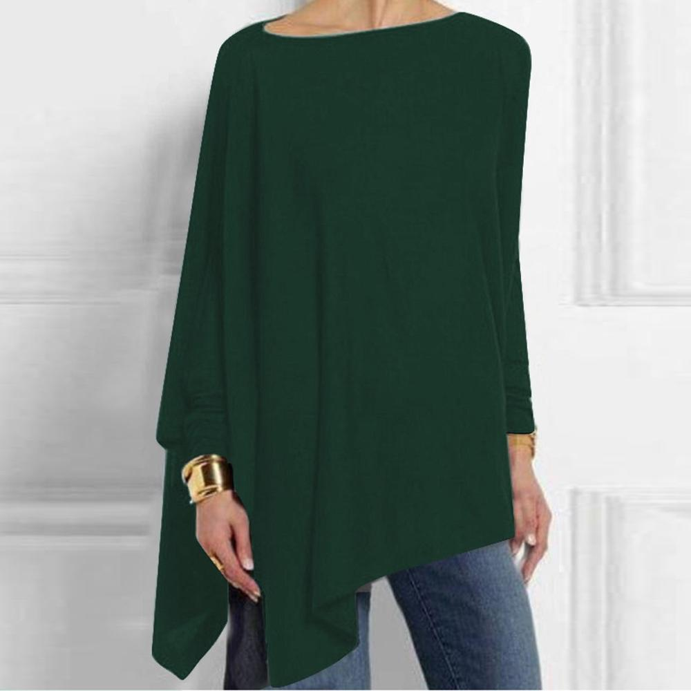 Jocoo Jolee Cotton Irregular Womens Tops And Blouses Casual O Neck Long Sleeve Loose Shirt Female Solid Sweatshirt Solid Pullove(China)