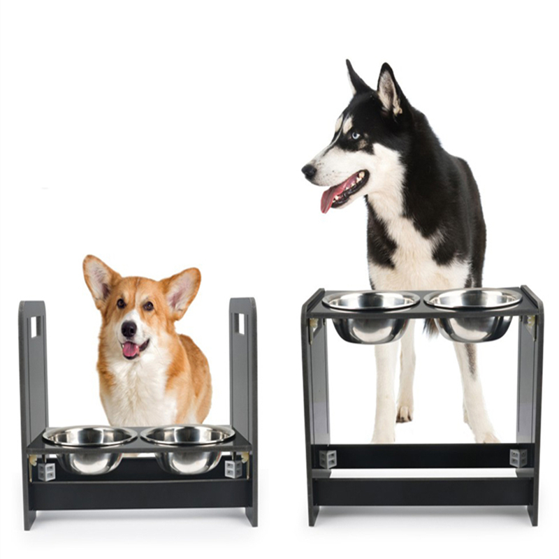 Adjustable Double Dog Bowls for font b Pet b font Stainless Steel Food Water Bowl font