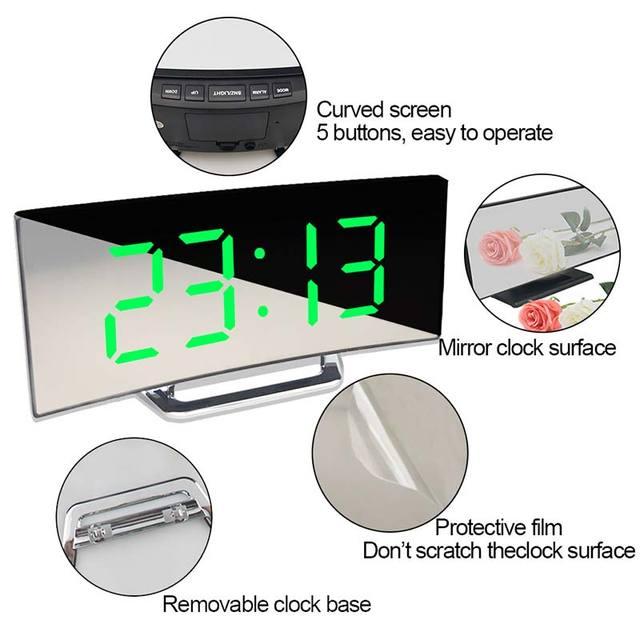 Digital Alarm Clock 7 Inch Curved Dimmable LED Sn Electronic Digital desktop Clock for Kids Bedroom Large Number Table Clock 5