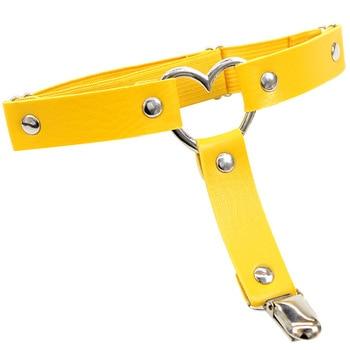 Women Punk Heart Sexy PU Leather Garter Belt Harajuku Elasticity Body Harness Tight Suspender Strap Leg Harness Bondage Belts 18
