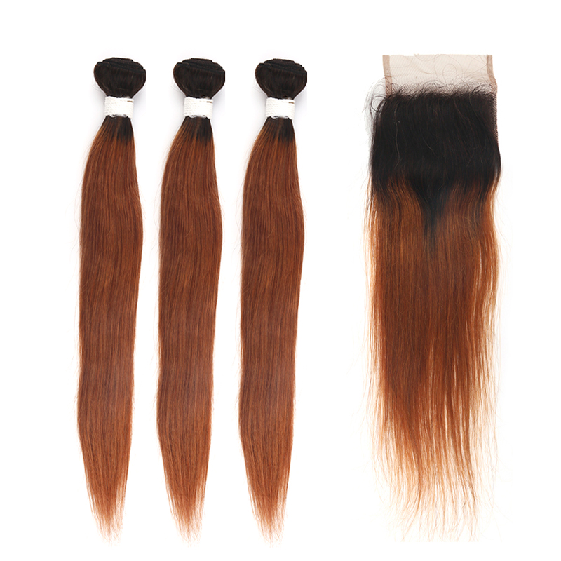 Brazilian Ombre Brown Color Straight Human Hair Bundles With Closure 4*4 KEMY HAIR T1B/30 Two Tone Non Remy Hair Extension 3PCS